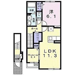 大衡村大衡アパート(025573801) 2階1LDKの間取り
