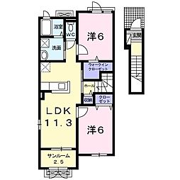 ドゥ・ステージアVII 2階2LDKの間取り