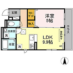 湘南新宿ライン宇須 新川崎駅 徒歩16分の賃貸アパート 1階1LDKの間取り