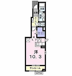 ルーチェ・デル・ソレI 1階1Kの間取り