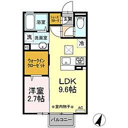 (仮)D-room平柳町 1階1LDKの間取り