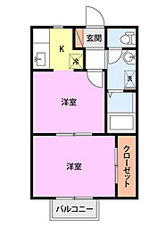 JR越後線 寺尾駅 徒歩13分の賃貸アパート 1階1DKの間取り