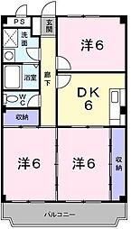ヒルトップハウス 3階3DKの間取り