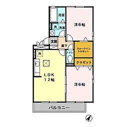 埼玉新都市交通 今羽駅 徒歩13分の賃貸アパート 1階2LDKの間取り