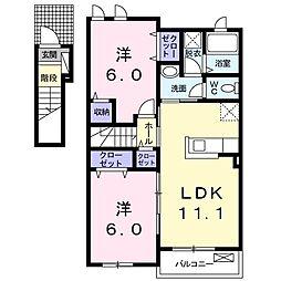 フルール 2階2LDKの間取り
