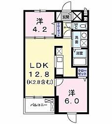 ベルプレーヌ 3階2LDKの間取り