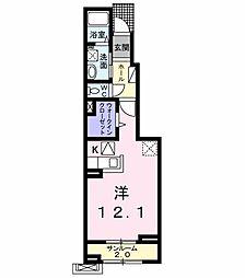 ボン ソレイユ 1階1Kの間取り
