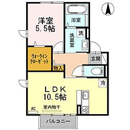 リーベンコート 2階1LDKの間取り