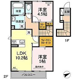 D-room唐原 B棟 2階2LDKの間取り