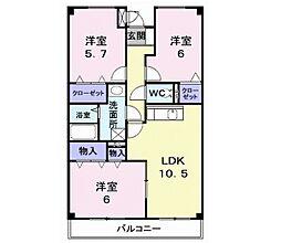 コスタ・あおやぎ 3階3LDKの間取り