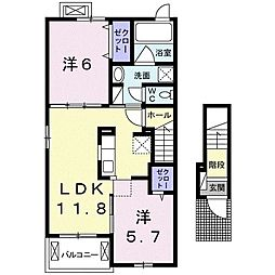 レナ ハウス 2階2LDKの間取り