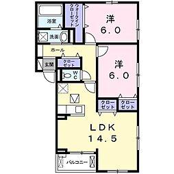 上郡2丁目アパート(024480501) 1階2LDKの間取り