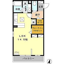 JR京浜東北・根岸線 さいたま新都心駅 徒歩13分の賃貸アパート 1階ワンルームの間取り