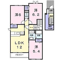 カルムM 2階3LDKの間取り