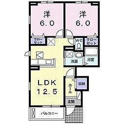 カーサプリマベーラ D 1階2LDKの間取り