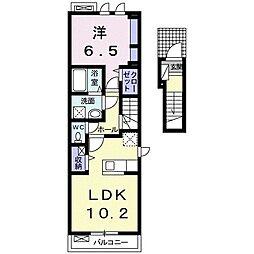 ルミウス 2階1LDKの間取り