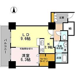 品川シーサイドビュータワー I 17階1LDKの間取り