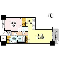 品川シーサイドビュータワー I 8階1LDKの間取り