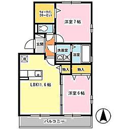 JR関西本線 大和小泉駅 徒歩3分の賃貸アパート 3階2LDKの間取り