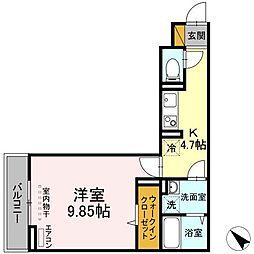 (仮称)D-room幕張本郷3ー4 3階1Kの間取り