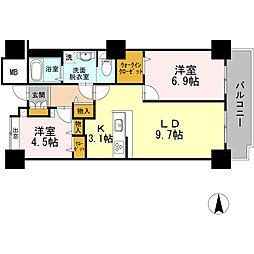 品川シーサイドビュータワー I 17階2LDKの間取り