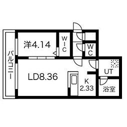 札幌市営東西線 南郷7丁目駅 徒歩4分の賃貸マンション 4階1LDKの間取り