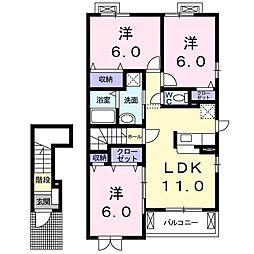 メゾン・ド・ジェルメ 2階3LDKの間取り
