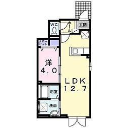 ラ・メール・ブルーI 1階1LDKの間取り