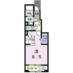 ベルフラワー II 1階1Kの間取り