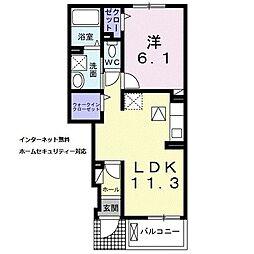 近鉄橿原線 平端駅 徒歩5分の賃貸アパート 1階1LDKの間取り