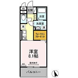 ロイジェントパークス富久山 A 2階1Kの間取り