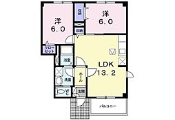 リバータウンB 1階2LDKの間取り