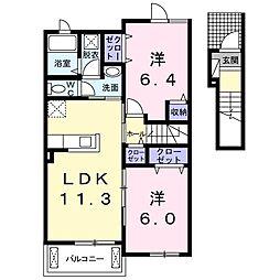 リビエスタI 2階2LDKの間取り