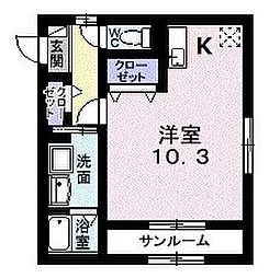 ユニゾンY・K 2階1Kの間取り