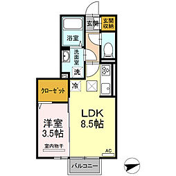 ロイジェントパークス富久山 E 1階1LDKの間取り