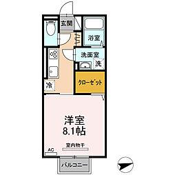 ロイジェントパークス富久山 E 2階1Kの間取り