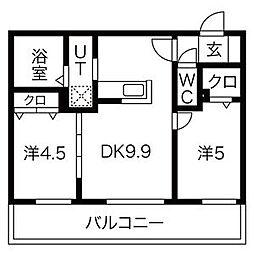 札幌市営東豊線 豊平公園駅 徒歩7分の賃貸マンション 3階2LDKの間取り
