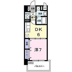 グランドール 6階1DKの間取り