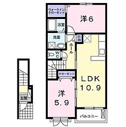 ソレイユ・ベル 2階2LDKの間取り