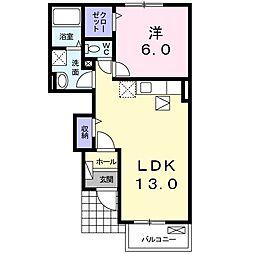 ファミーユ藤ノ木 B棟 1階1LDKの間取り