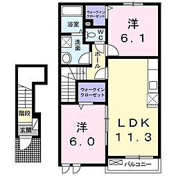 カミレA 2階2LDKの間取り