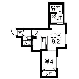 札幌市営東豊線 美園駅 徒歩6分の賃貸マンション 1階1LDKの間取り