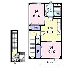 リバータウンA 2階2DKの間取り