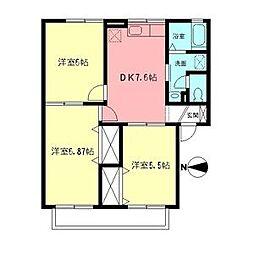 JR東海道本線 鴨宮駅 徒歩14分の賃貸アパート 2階3DKの間取り
