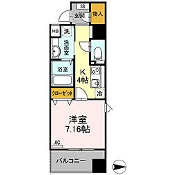 JR仙石線 仙台駅 徒歩10分の賃貸マンション 4階1Kの間取り