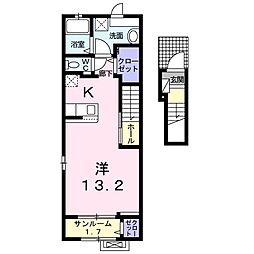 トリニティ・ベイ新別府 I 2階1Kの間取り