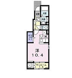 トリニティ・ベイ新別府 II 1階1Kの間取り