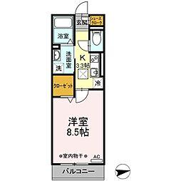 JR東海道本線 新所原駅 徒歩7分の賃貸アパート 1階1Kの間取り