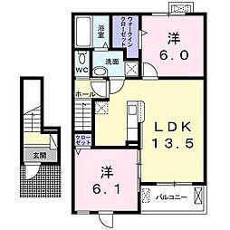 ジェミニ B 2階2LDKの間取り