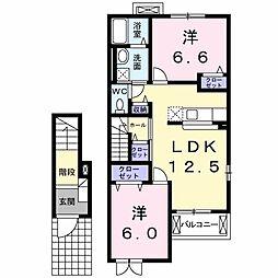 クラールA 2階2LDKの間取り